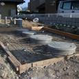 浄化槽天端コンクリート打設準備