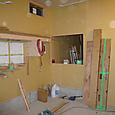 大工さんボード下地終了、造作・店装工事始開始